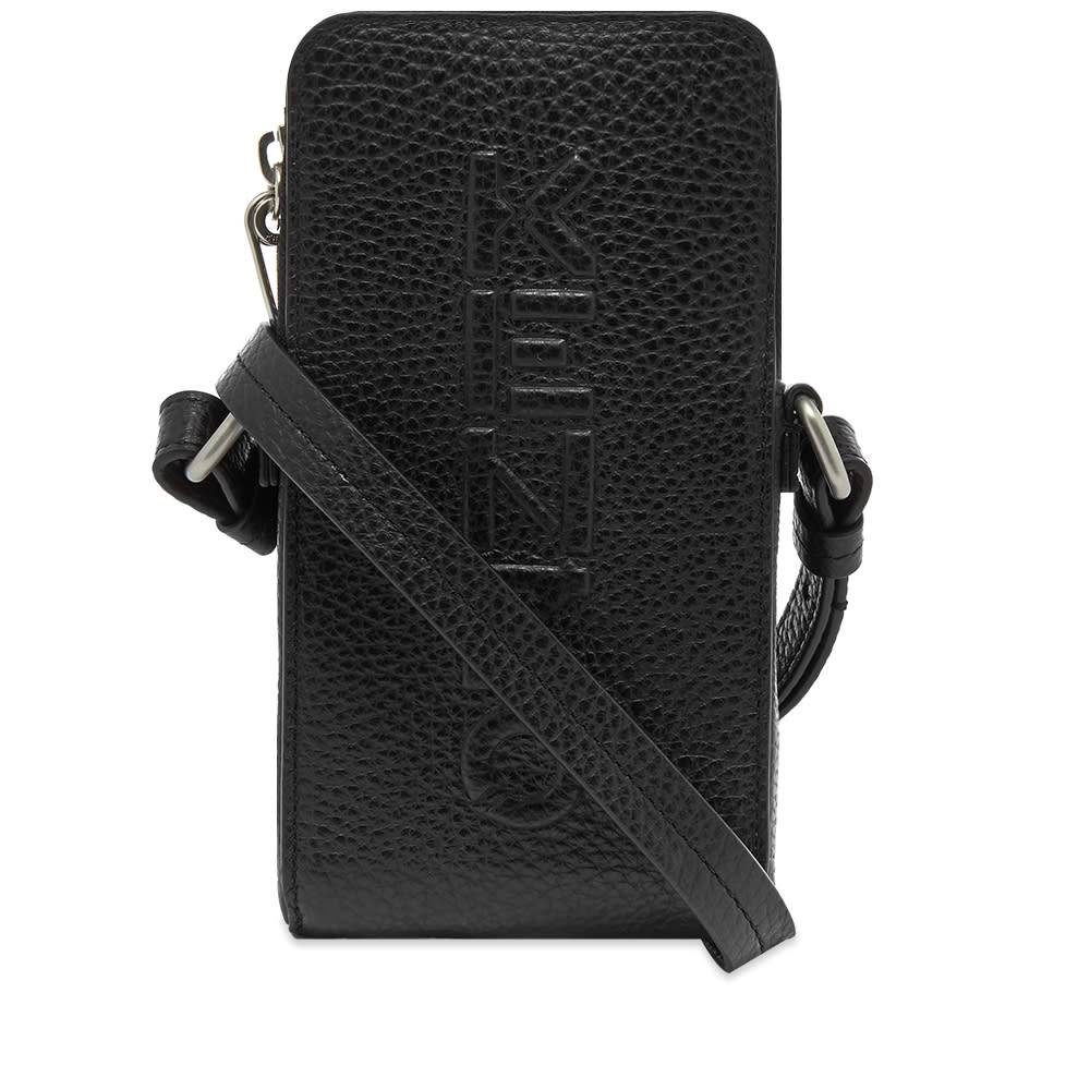 Kenzo Debossed Leather Phone Pouch On Strap