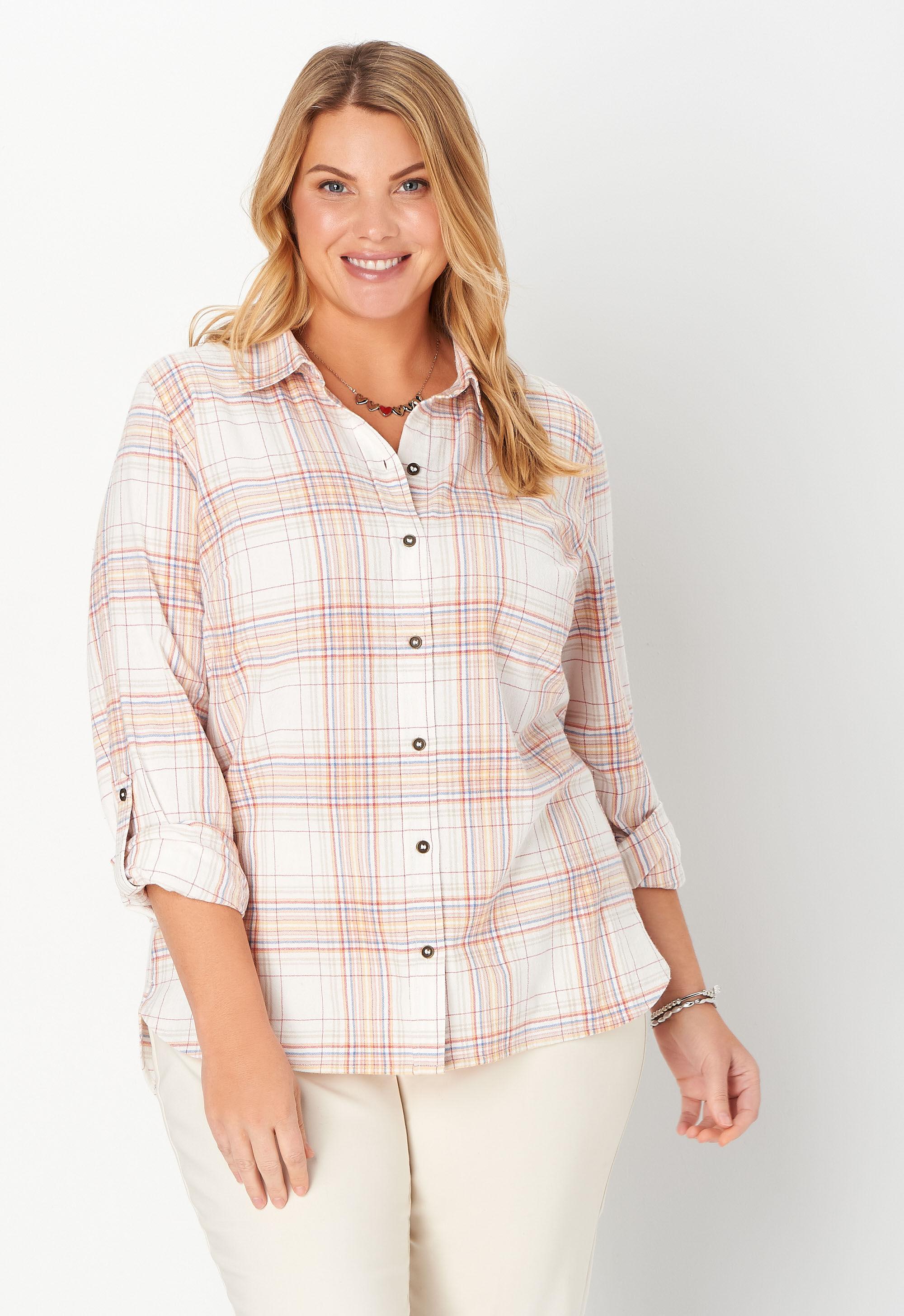 Christopher & Banks Textured Plaid Plus Size Shirt