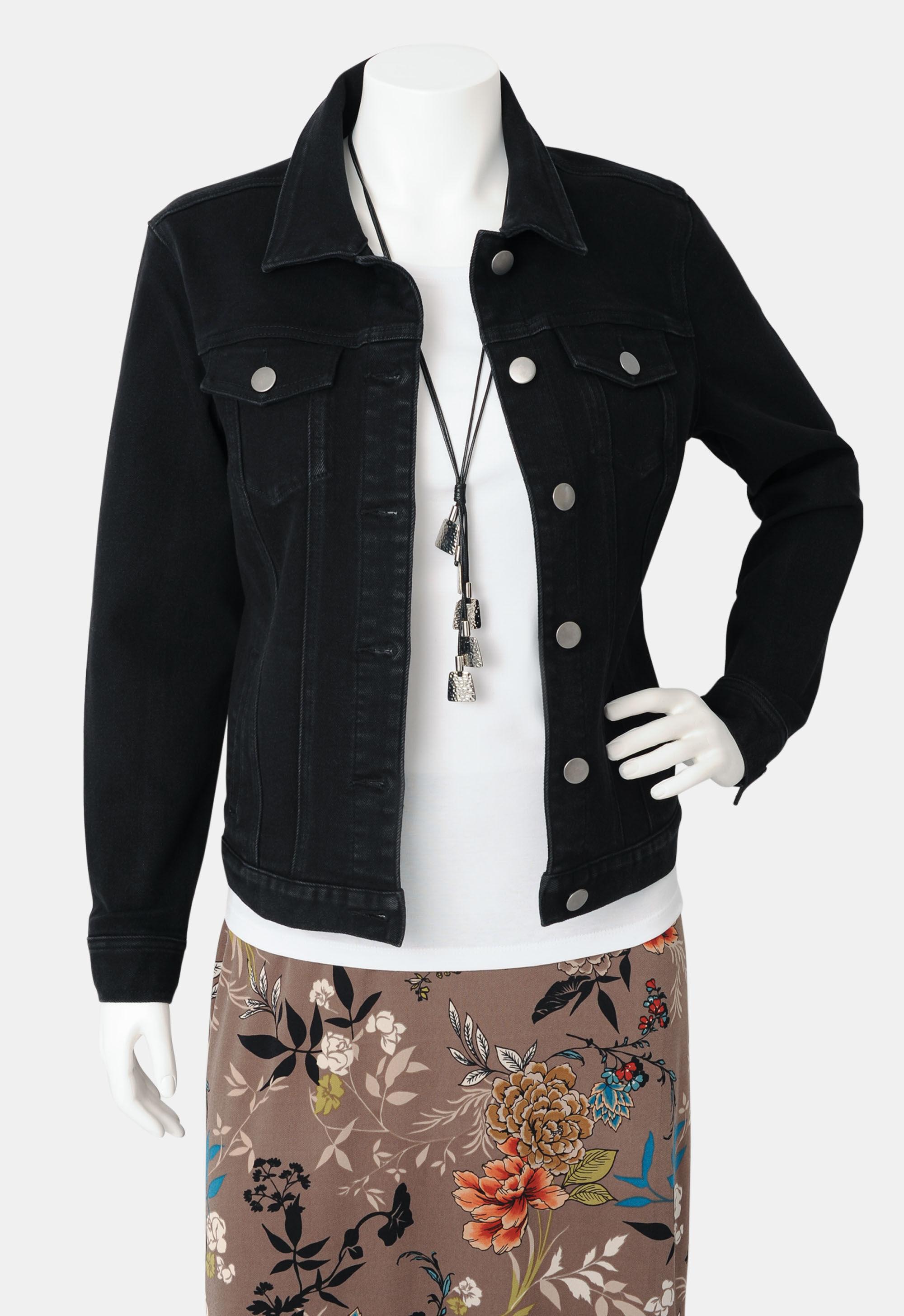 Christopher & Banks Black Plus Size Denim Jacket