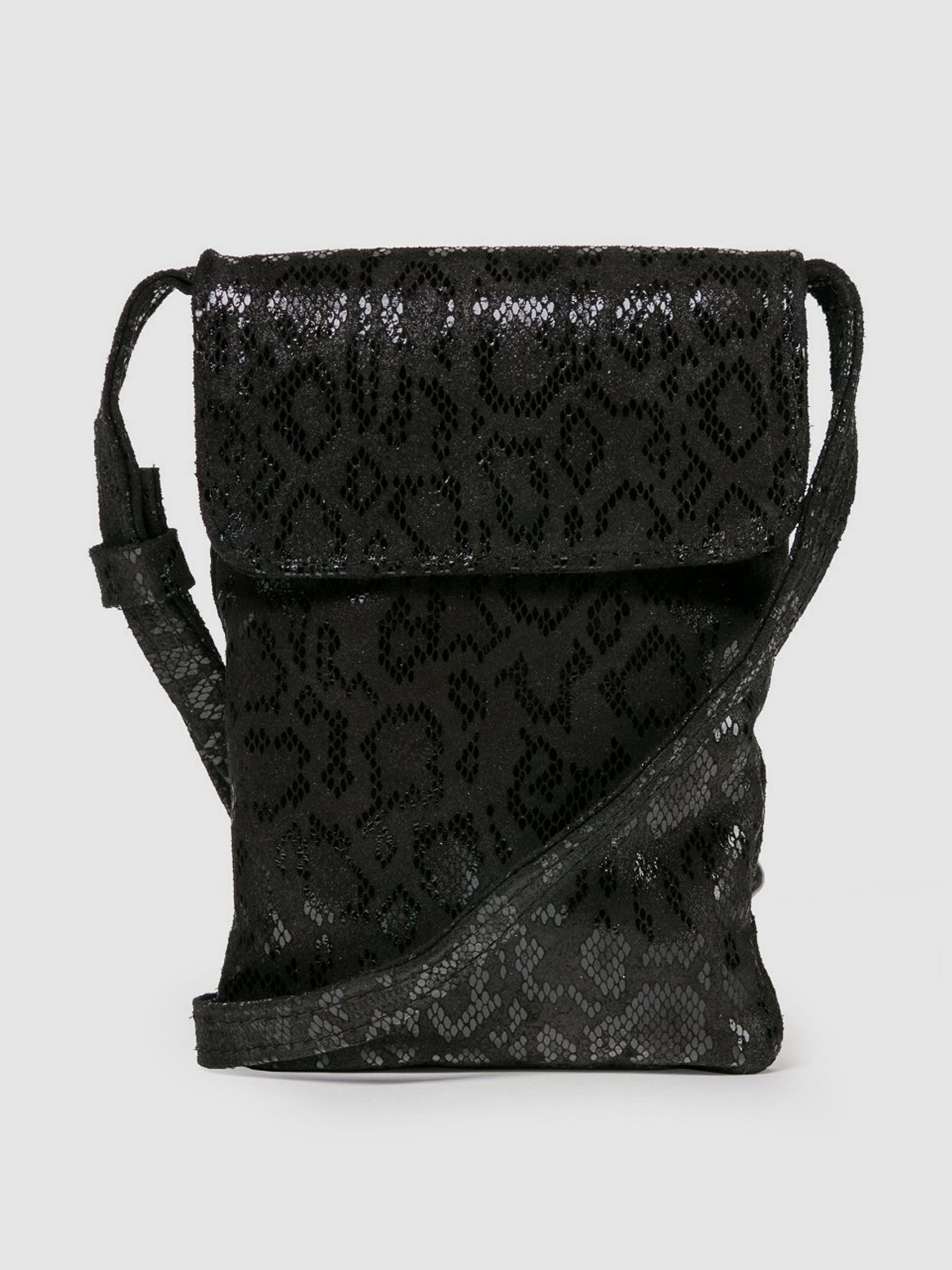CoFi Leathers Penny Phone Bag: Black Anaconda  - Black