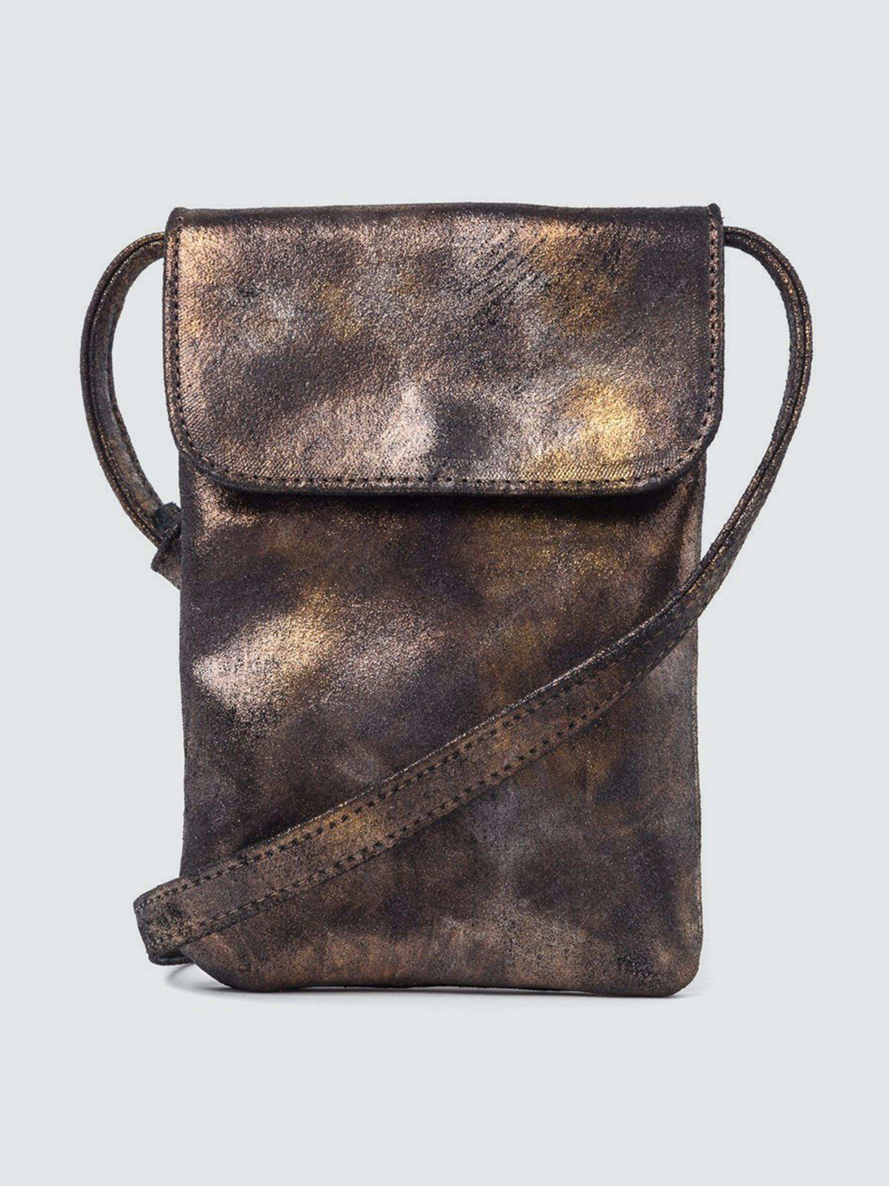 CoFi Leathers Penny Phone Bag: Black Gold Metallic  - Black