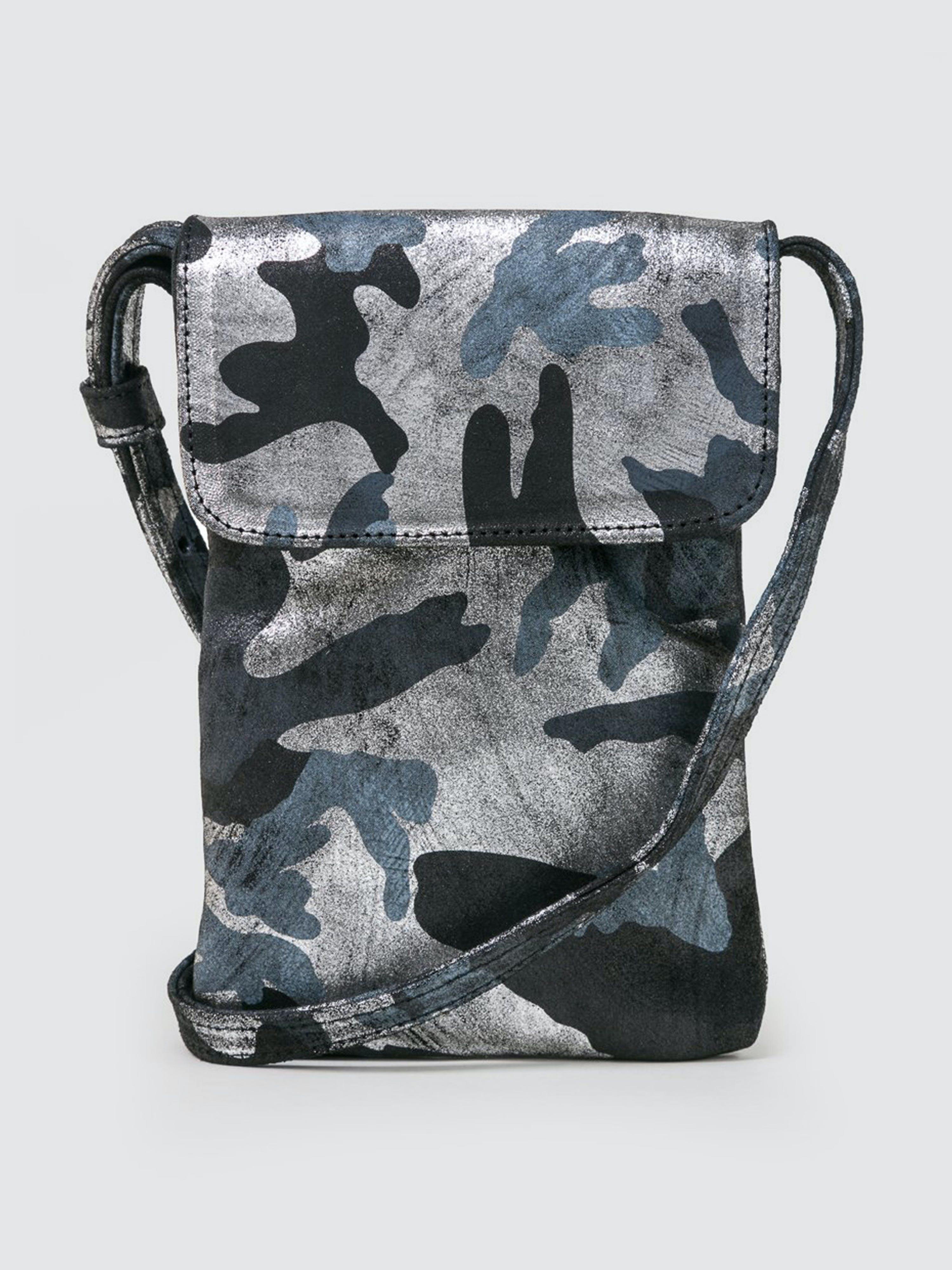CoFi Leathers Penny Phone Bag: Black Silver Camouflage  - Grey