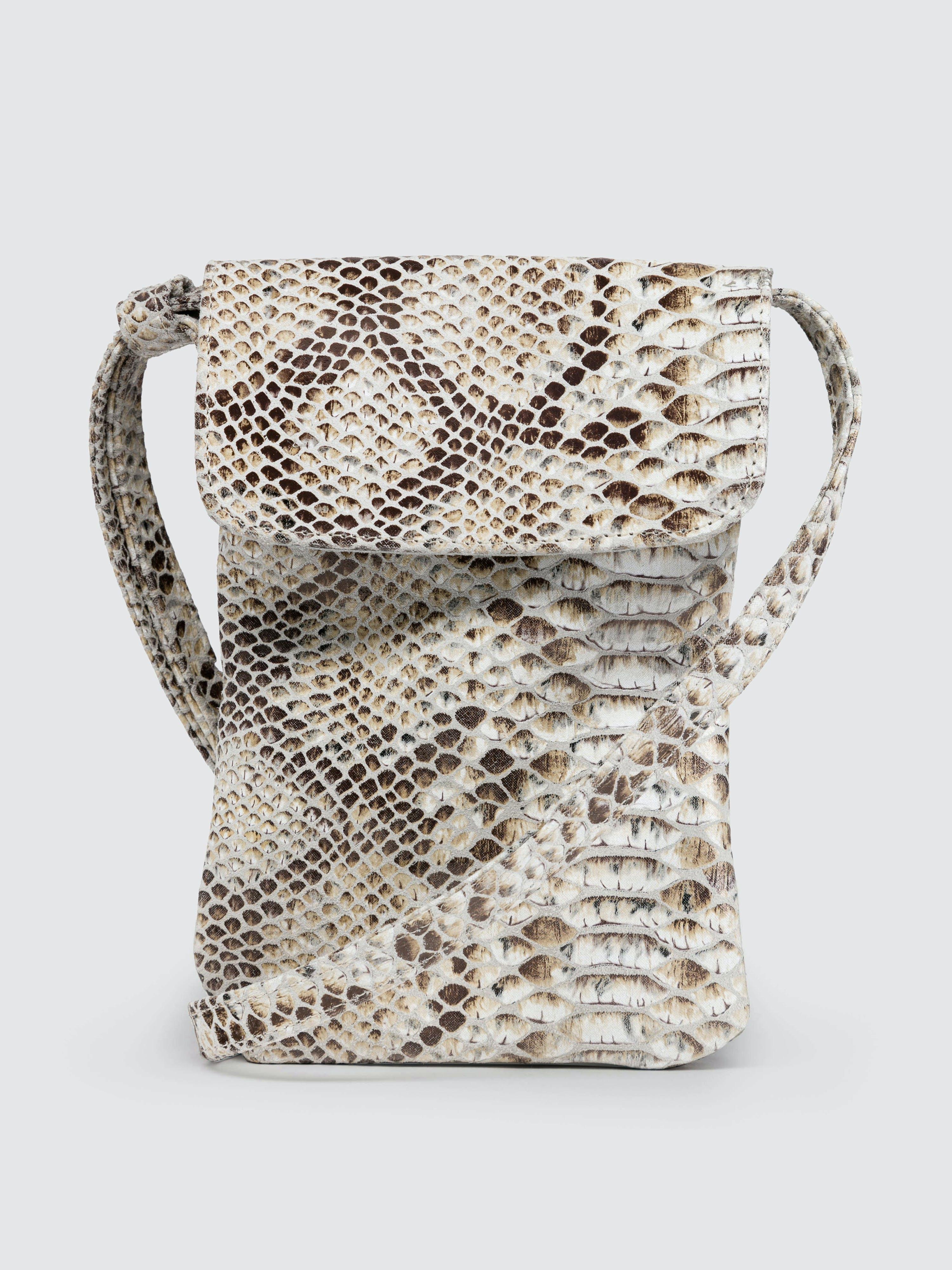 CoFi Leathers Penny Phone Bag: Camel Snake  - White