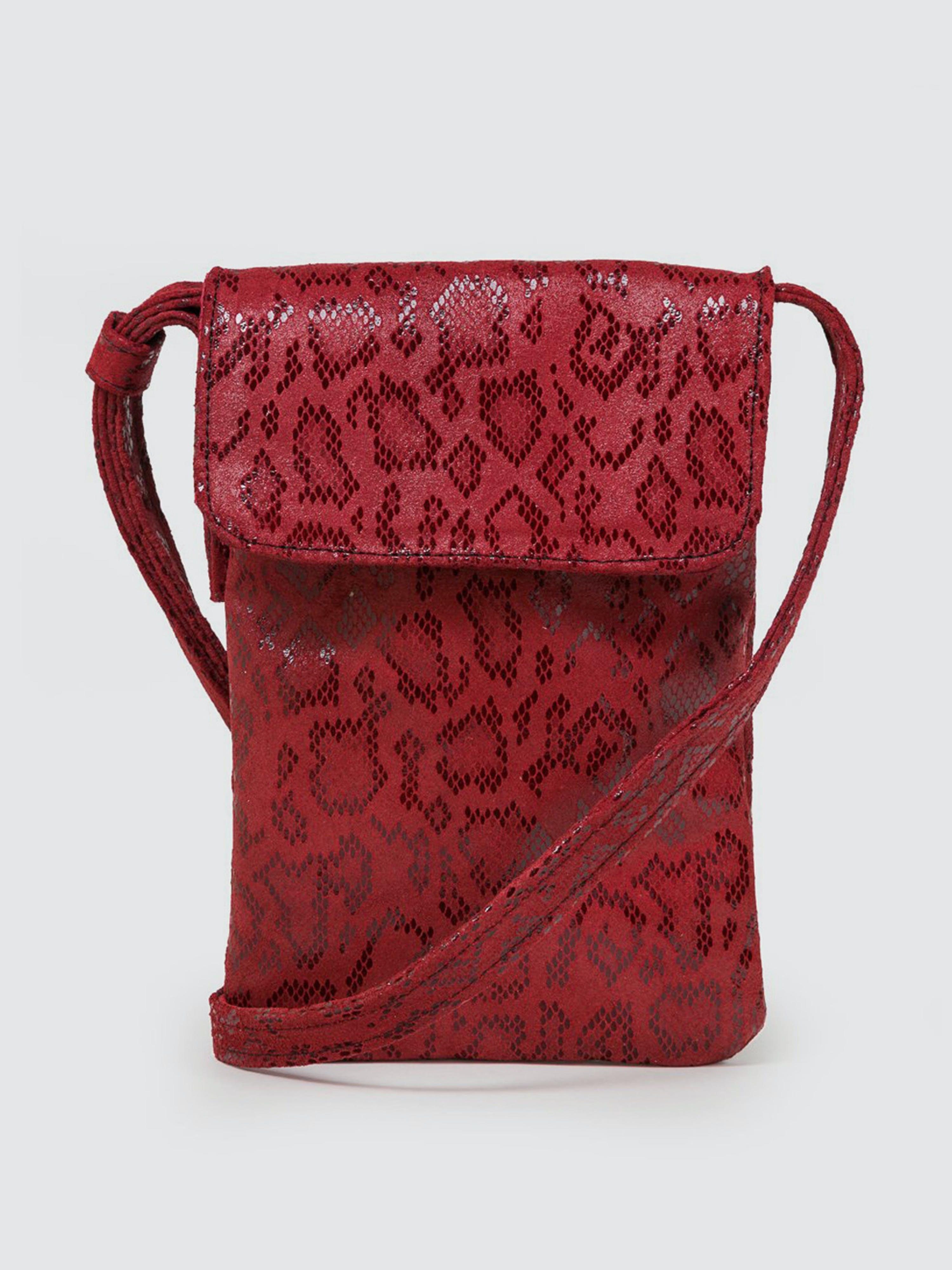CoFi Leathers Penny Phone Bag: Red Anaconda  - Red