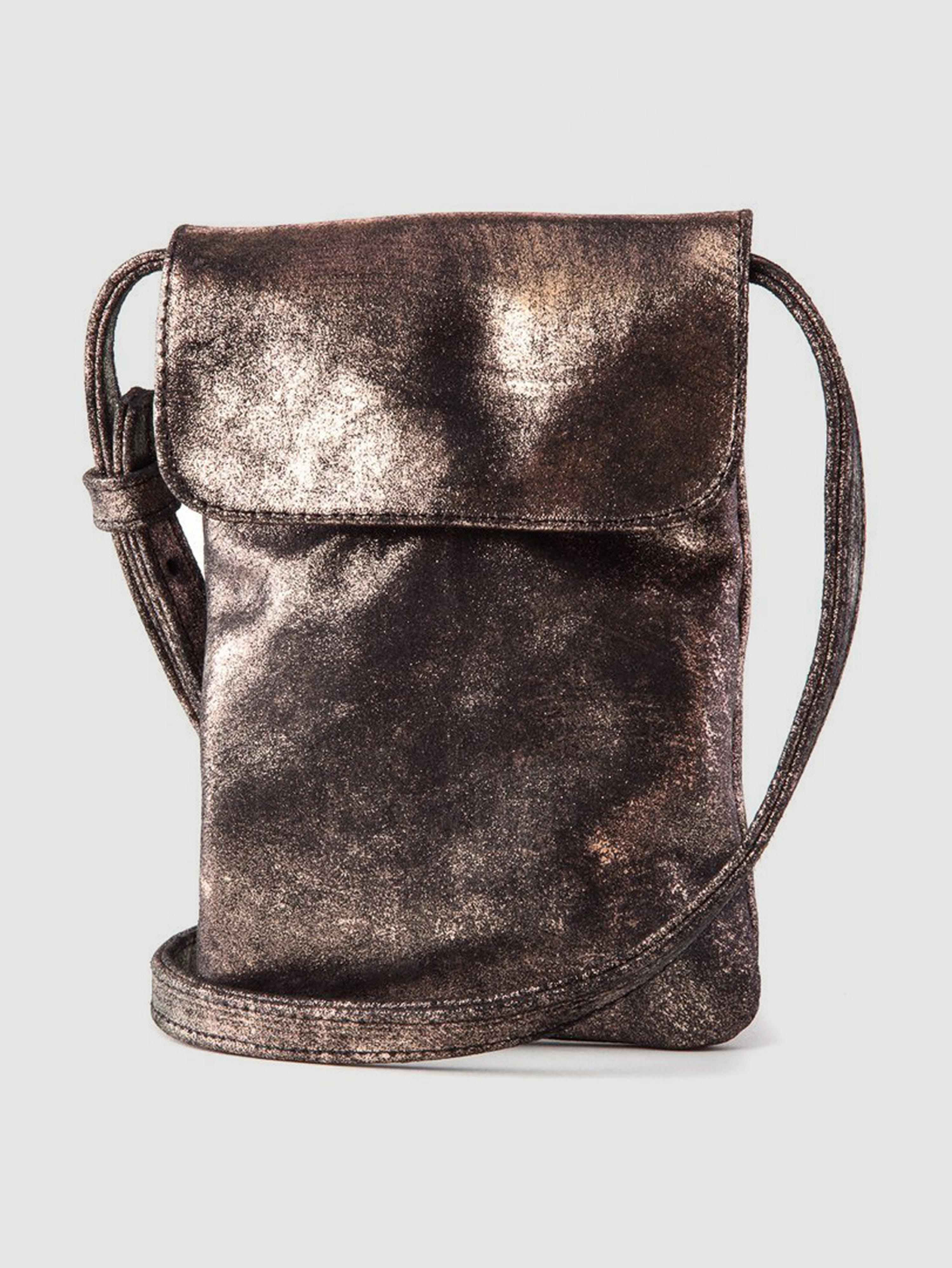 CoFi Leathers Penny Phone Bag: Rose Gold Black  - Brown