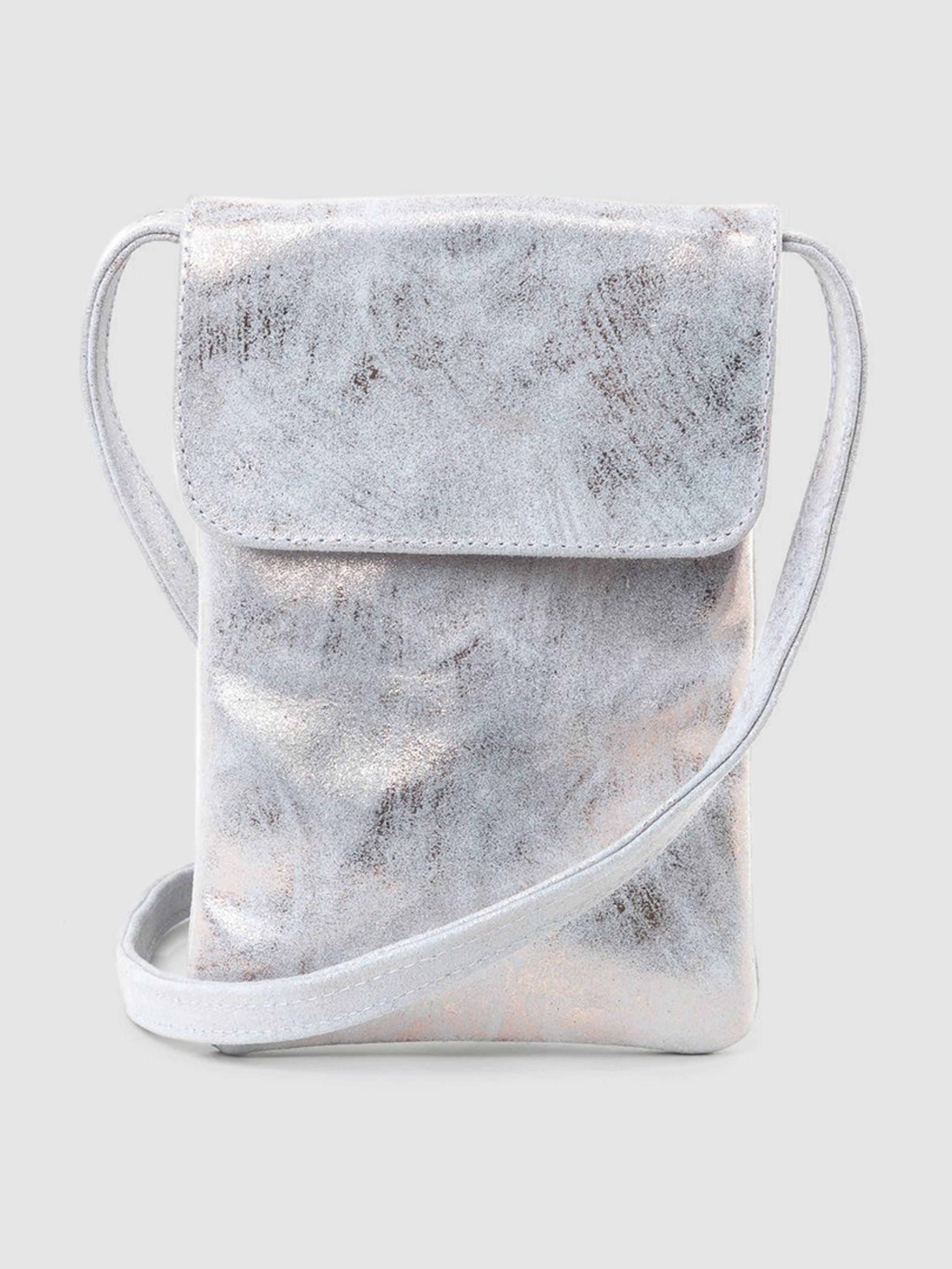 CoFi Leathers Penny Phone Bag: Rose Gold White  - White
