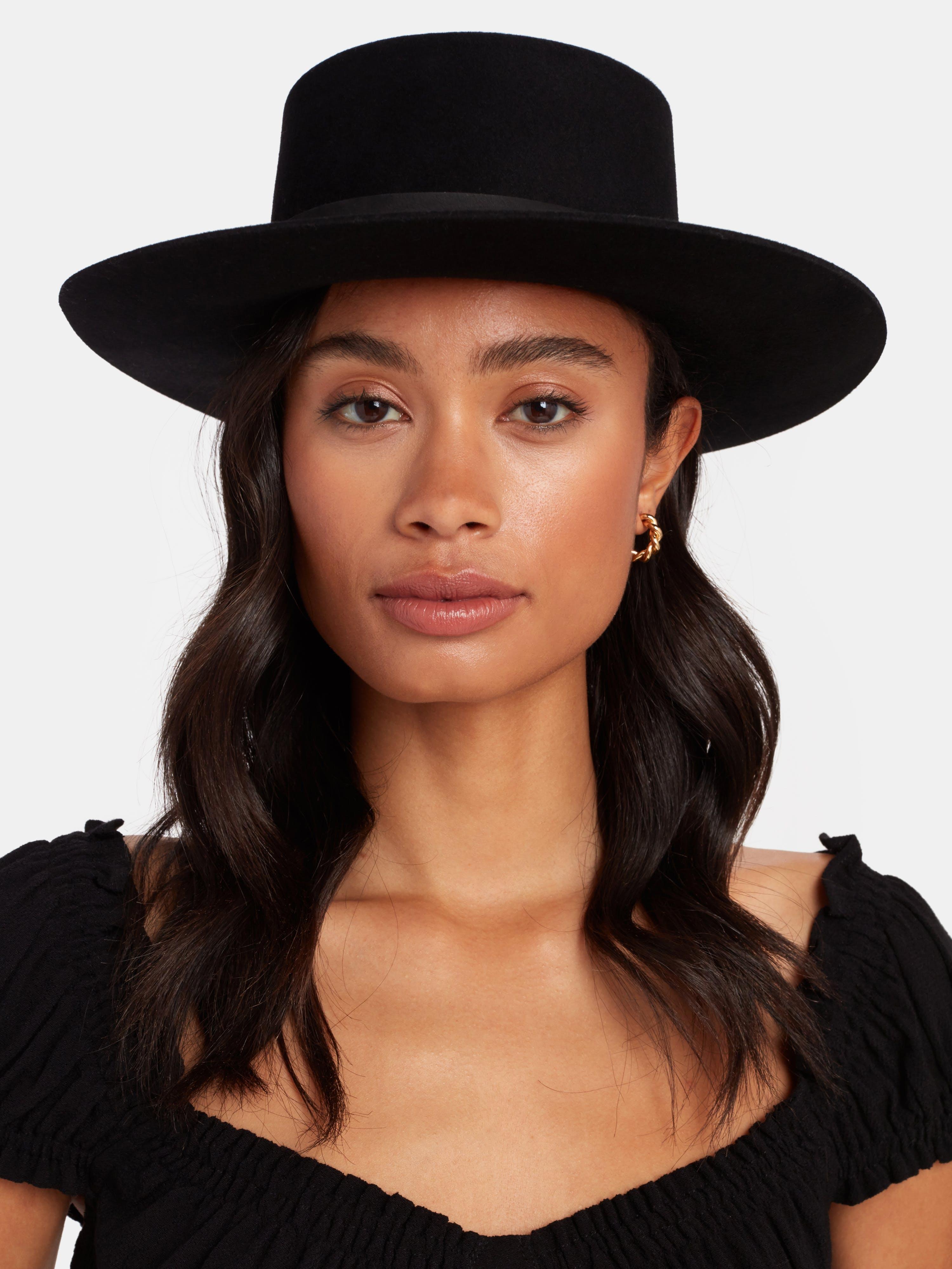 Janessa Leone Gabrielle Wool Bolero Hat - L  - Black