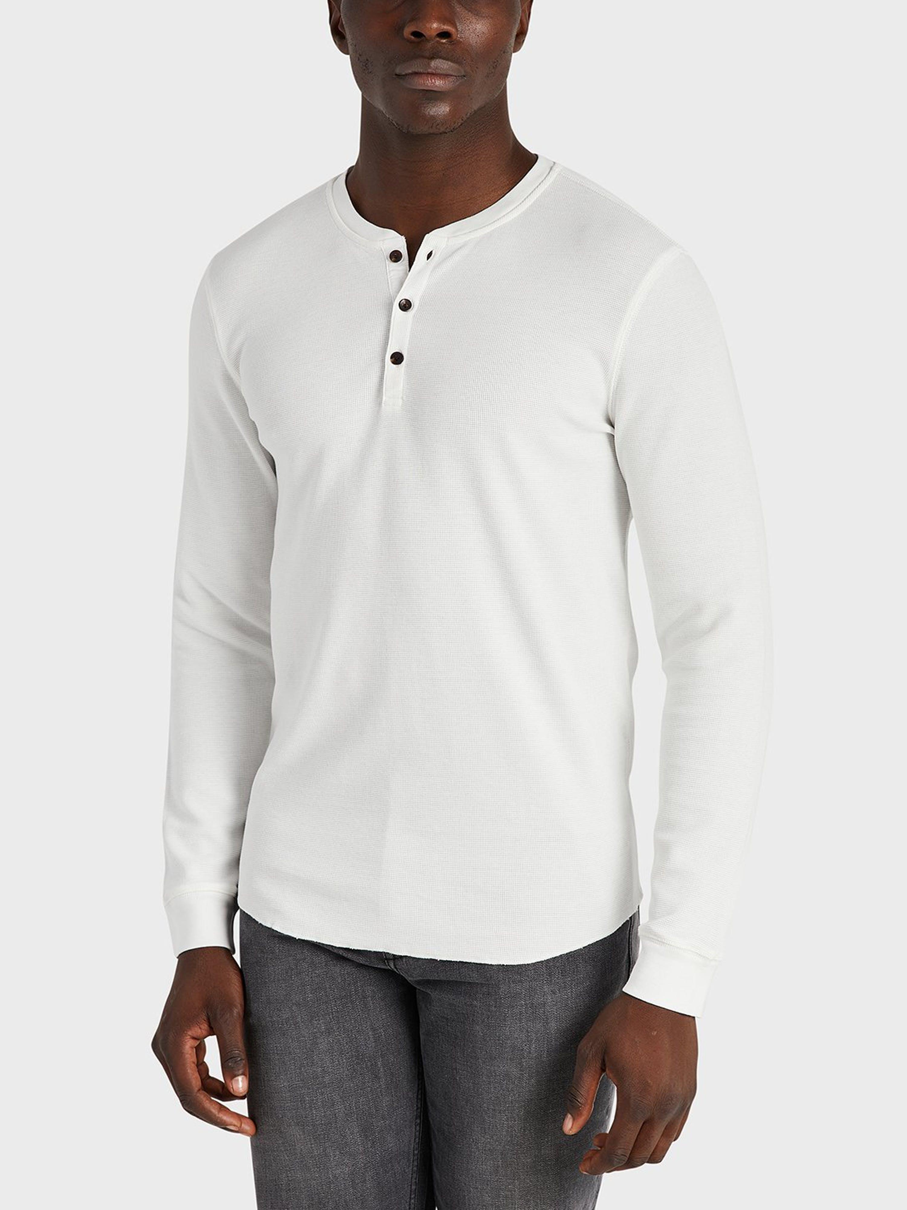 ONS Clothing Court Waffle Henley  - White