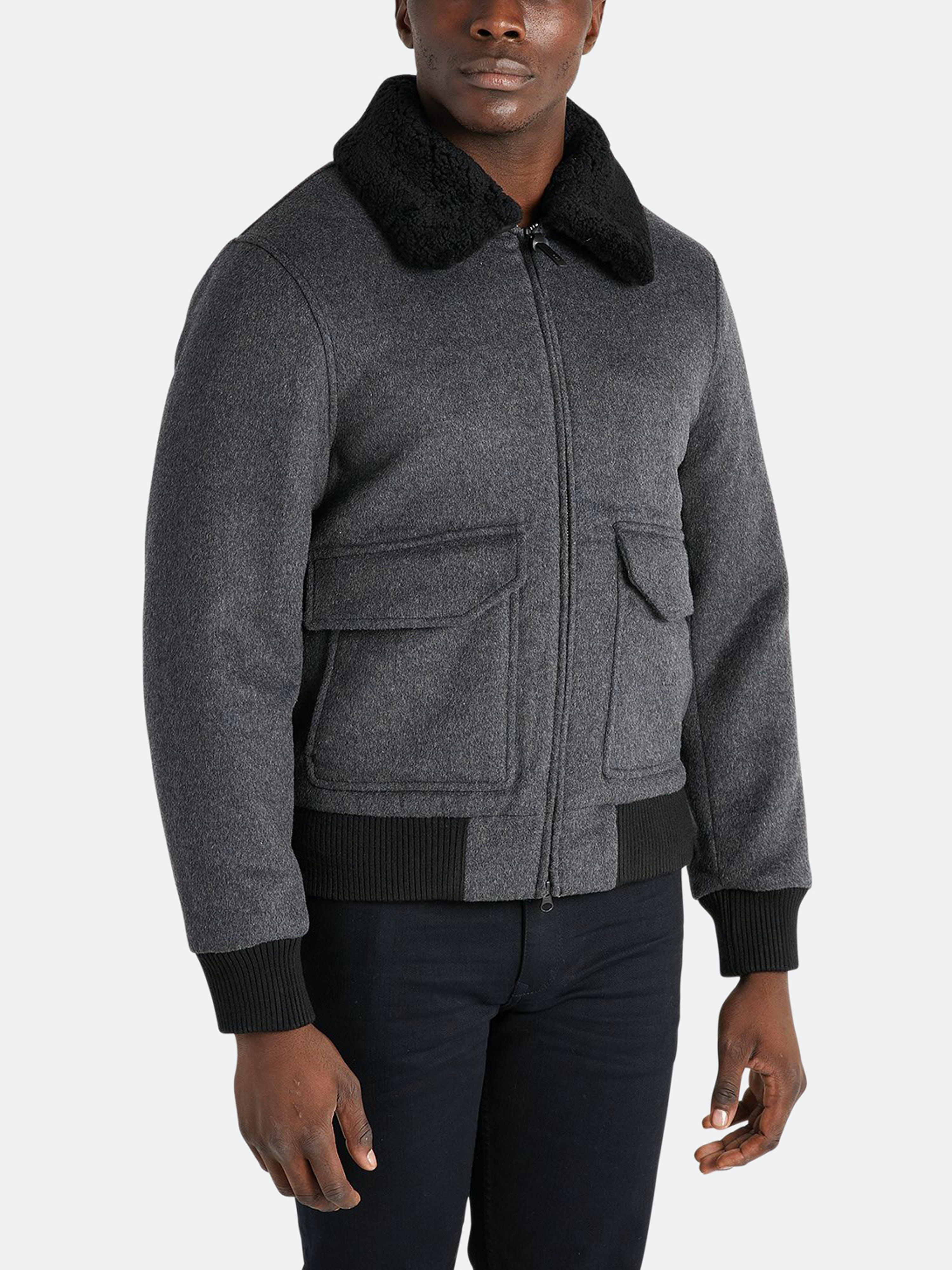 ONS Clothing Ilford Shearling Jacket  - Grey