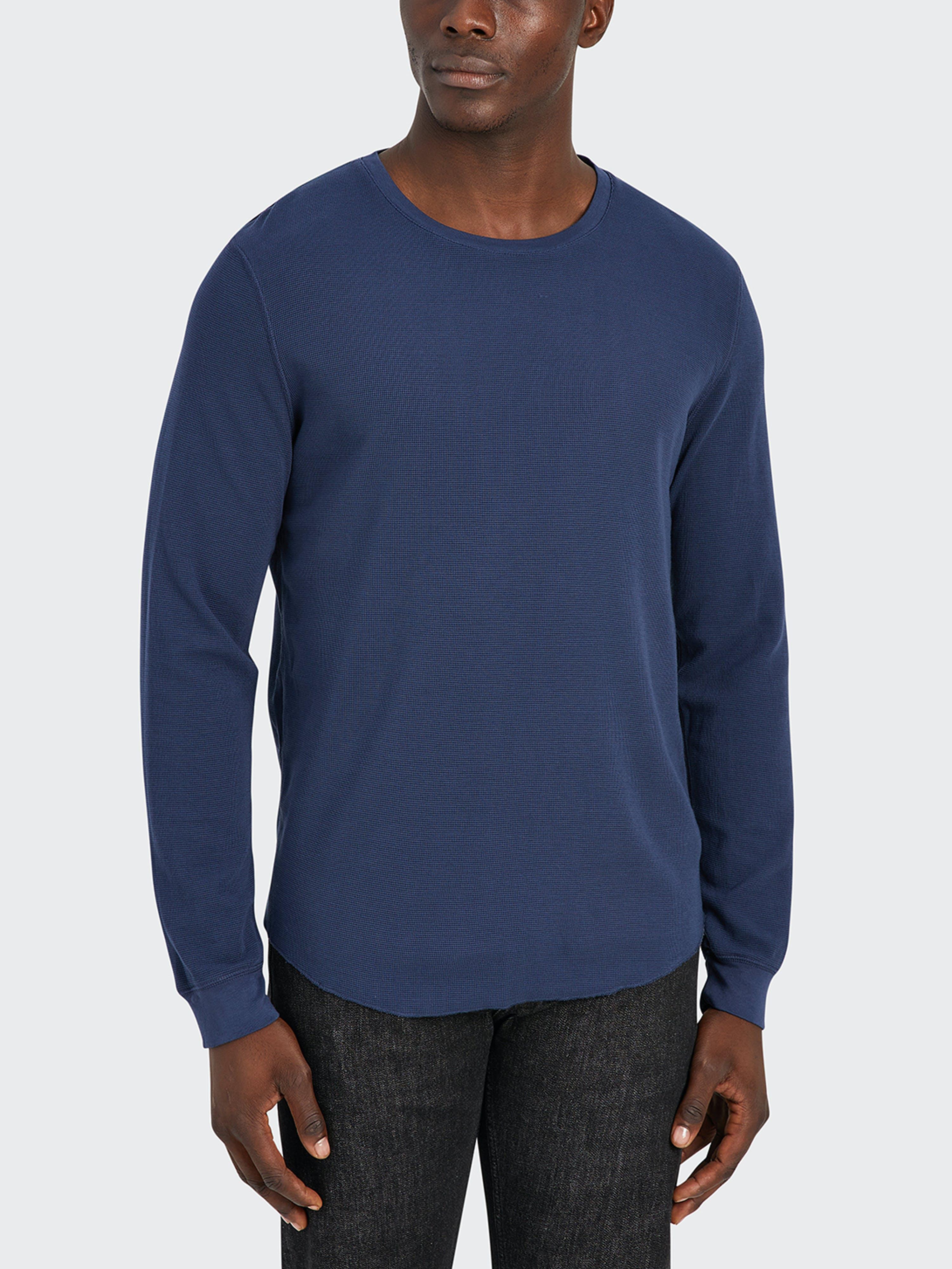 ONS Clothing Waffle Long Sleeve Village Crew Tee  - Blue