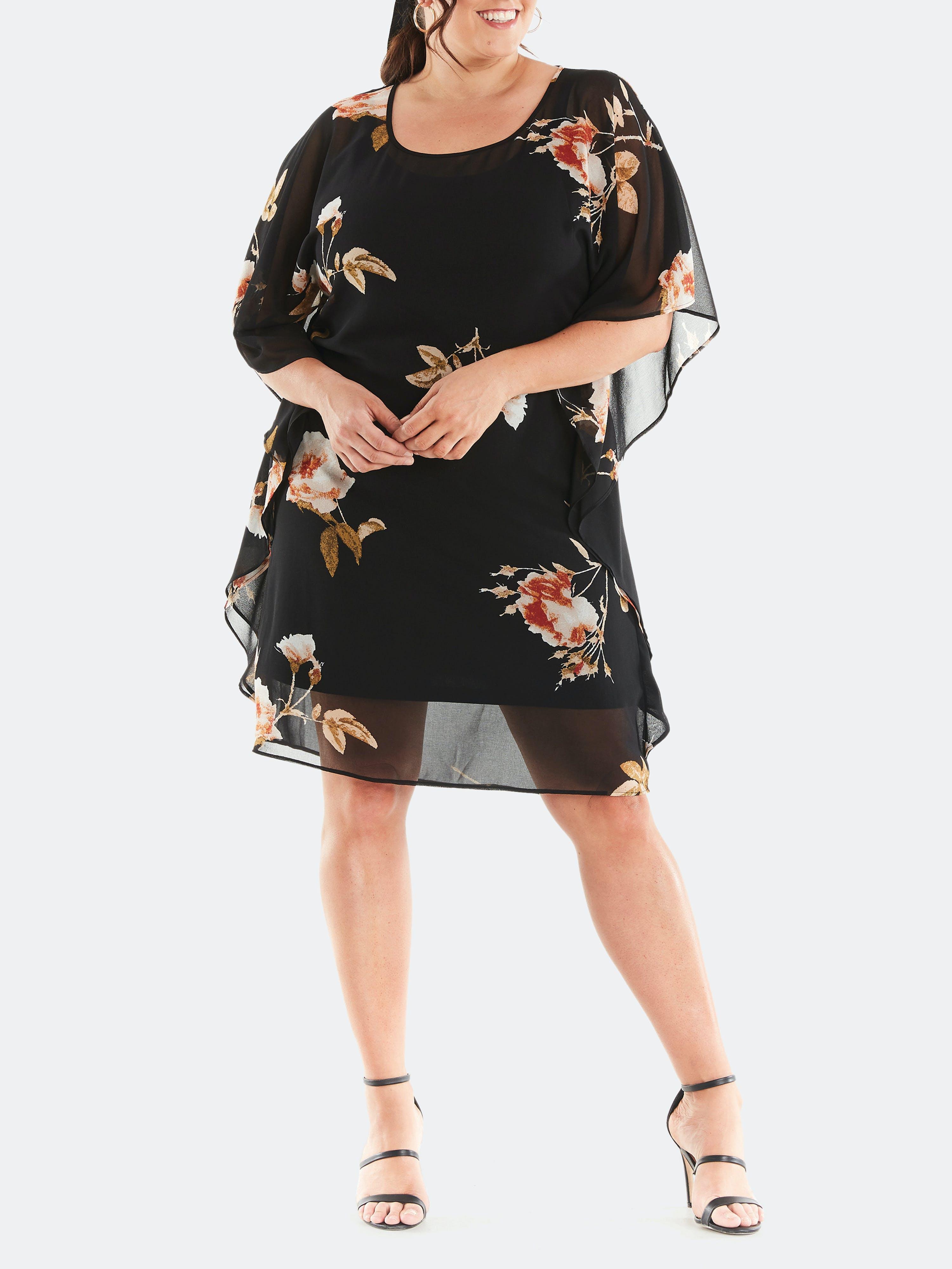 Estelle - Verified Partner Rose Garden Dress - 4X - Also in: 1X, 2X, 3X  - Black