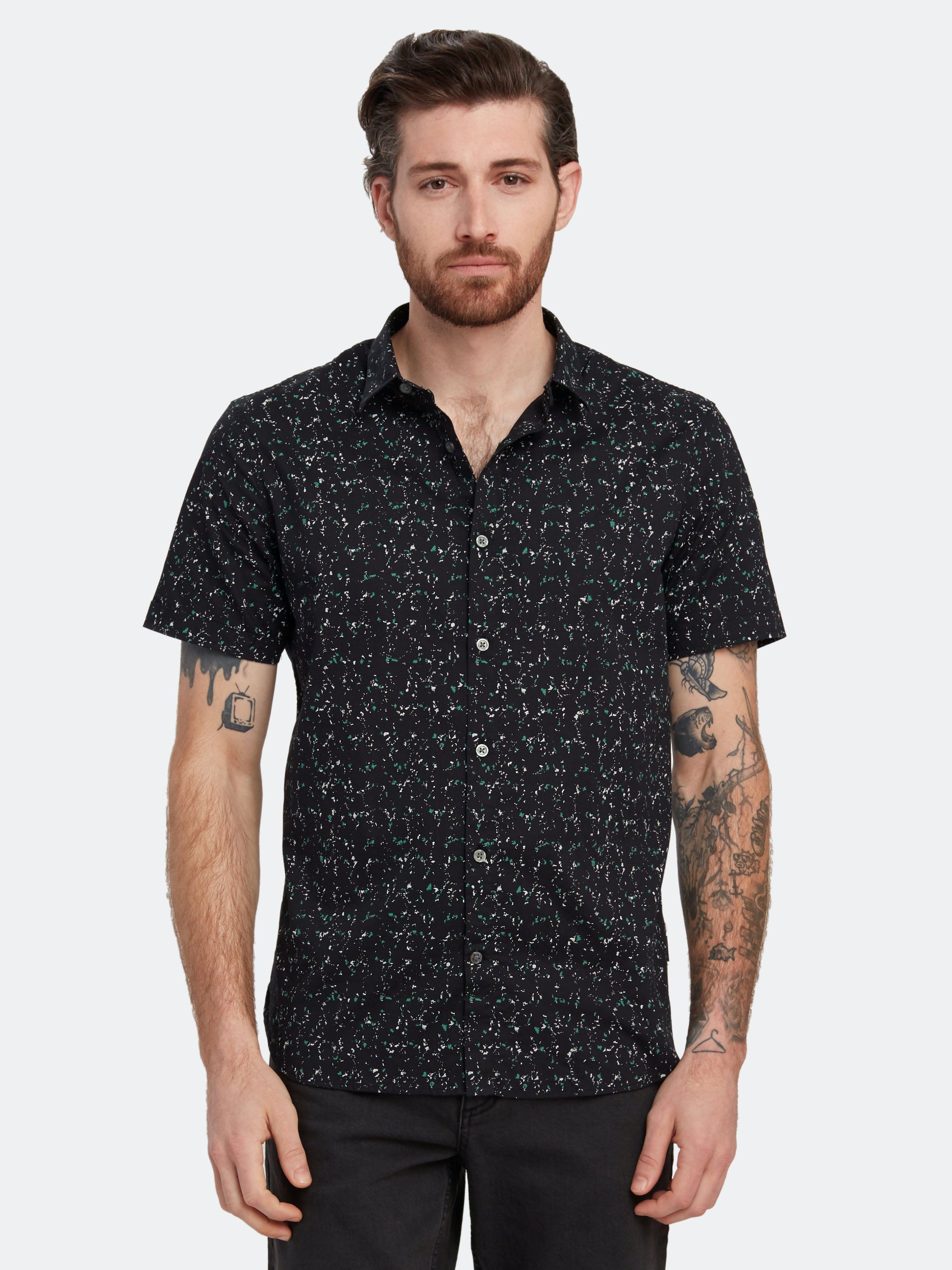 John Varvatos Star USA Jasper Short Sleeve Sport Shirt - L - Also in: S, M, XXL  - Green