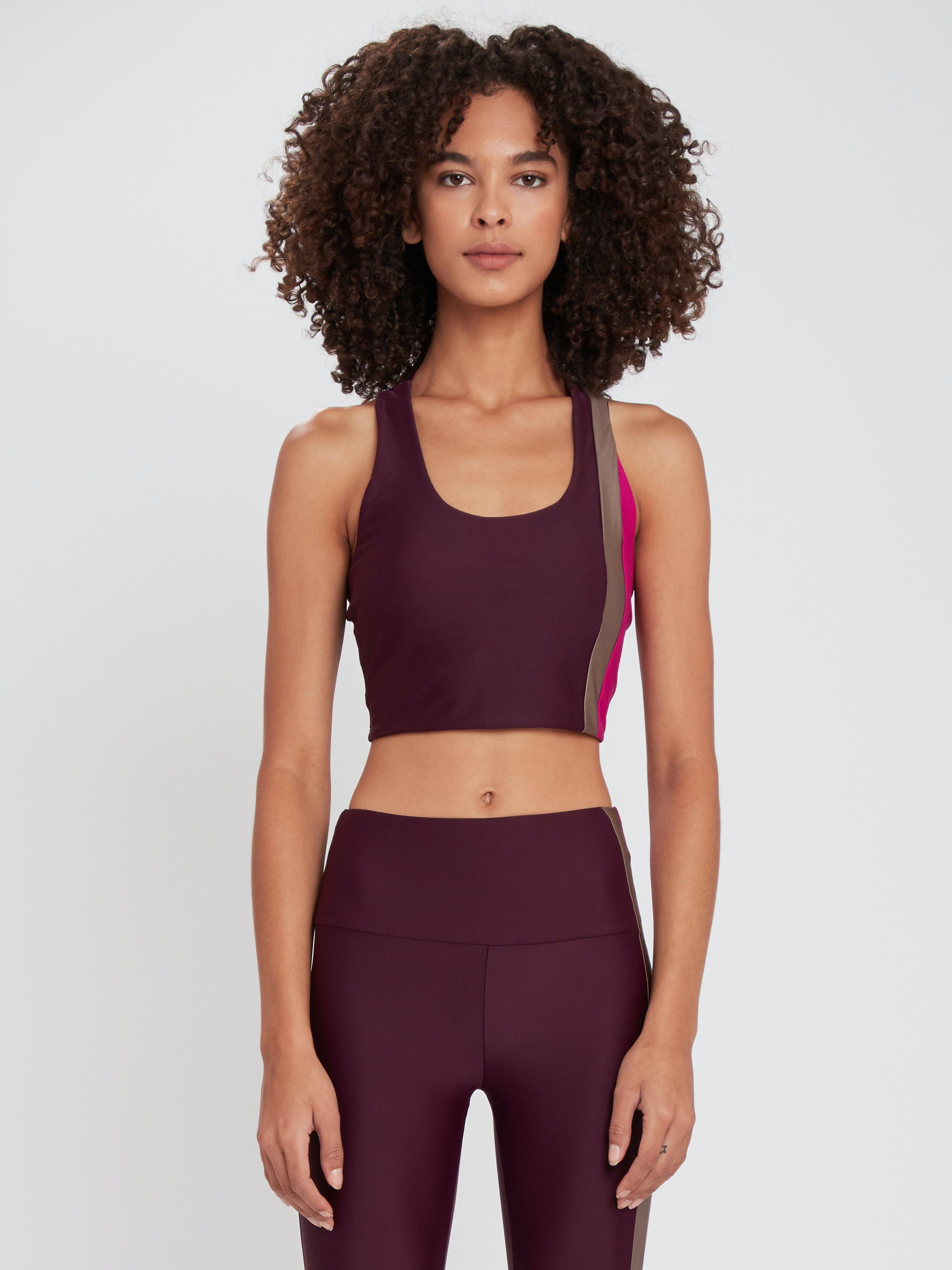 Lanston Sport Strive Striped Longline Bra - M - Also in: L, S  - Pink