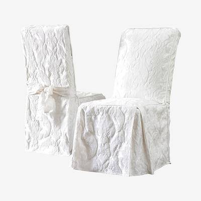 BrylaneHome Matelasse Long Dining Room Chair Cover in White by BrylaneHome