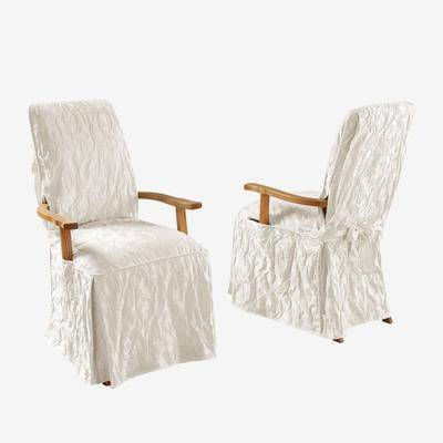 BrylaneHome Matelasse Long Dining Room Chair Cover with Arms in White by BrylaneHome