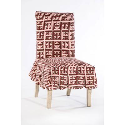 BrylaneHome Roman Key Cotton Slipcover, Size Dining Chair in Red/White by BrylaneHome