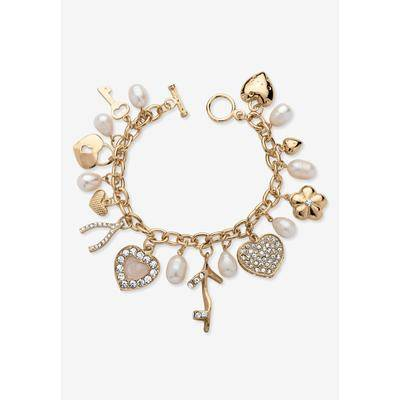 """PalmBeach Jewelry """"Gold Tone Charm Bracelet Crystal and Cultured Freshwater Pearl, Size 8"""""""" by PalmBeach Jewelry"""""""