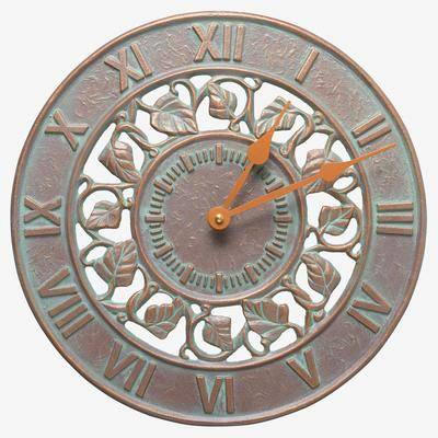 """BrylaneHome """"Ivy Silhouette Indoor Outdoor Wall Clock, Size 12"""""""" in Copper Verdigris by BrylaneHome"""""""