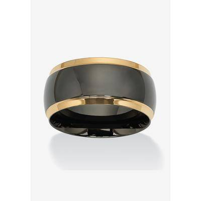 PalmBeach Jewelry Stainless Steel Black and Gold Ion Plated Wedding Band Ring, Size 13 by PalmBeach Jewelry