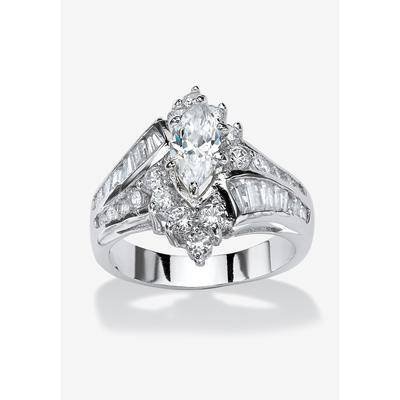 PalmBeach Jewelry Platinum-Plated Marquise Engagement Ring Cubic Zirconia, Size 9 in Silver by PalmBeach Jewelry