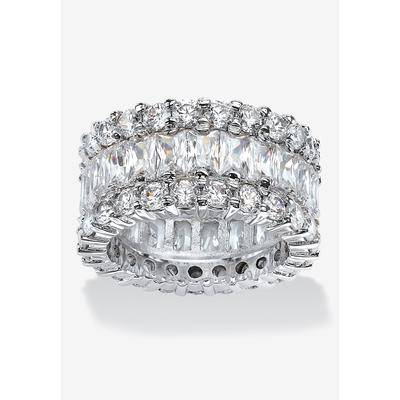 PalmBeach Jewelry Platinum over Silver Baguette Eternity Bridal Ring Cubic Zirconia, Size 6 by PalmBeach Jewelry