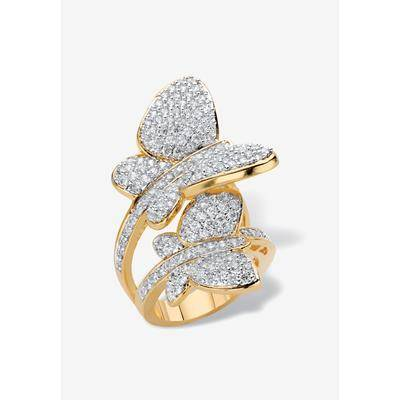 PalmBeach Jewelry Yellow Gold Plated Cubic Zirconia Butterfly Wraparound Ring, Size 7 by PalmBeach Jewelry