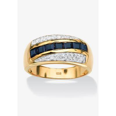 PalmBeach Jewelry Men's Gold over Sterling Silver Sapphire and Cubic Zirconia Ring, Size 7 by PalmBeach Jewelry