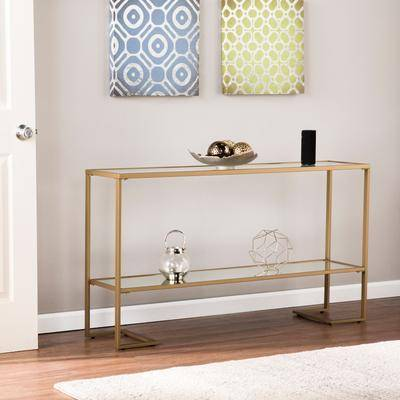 BrylaneHome Horten Glam Narrow Console in Gold by BrylaneHome