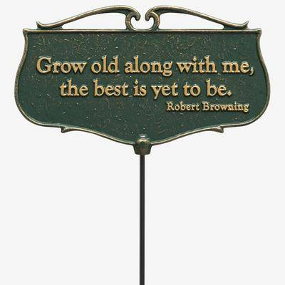 BrylaneHome Grow Old Along With Me Garden Poem Sign in Green/Gold by BrylaneHome