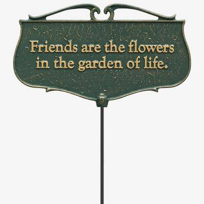 BrylaneHome Friends Are The Flowers Garden Poem Sign in Green/Gold by BrylaneHome