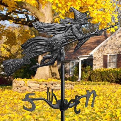BrylaneHome Flying Witch Garden Weathervane in Black by BrylaneHome