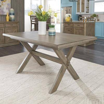 Home Styles Mountain Lodge Rectangular Trestle Dining Table in Gray by Home Styles
