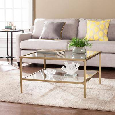 BrylaneHome Keller Square Metal/Glass Open Shelf Cocktail Table in Gold by BrylaneHome