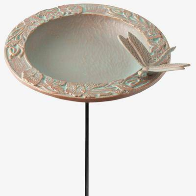 BrylaneHome Dragonfly Garden Bird Feeder in Copper Verdigris by BrylaneHome