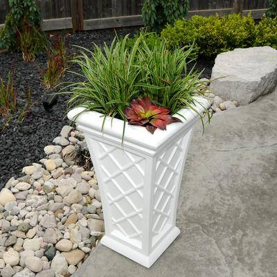 """Brylane Home """"Georgian Tall Planter, Size 28"""""""" in White by Brylane Home"""""""