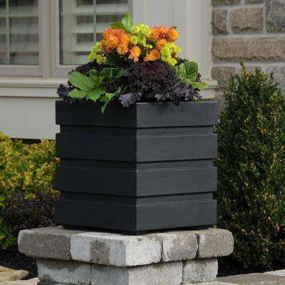 """Brylane Home """"Freeport Patio Planter, Size 18"""""""" Sq. in Black by Brylane Home"""""""