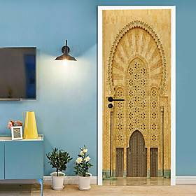 Creative Labs 2pcs Self-adhesive Creative Muslim Door Stickers For Living Room DIY Decoration Home Waterproof Wall Stickers