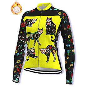 21Grams Women's Long Sleeve Cycling Jacket Winter Fleece Spandex Yellow Cat Floral Botanical Bike Jacket Mountain Bike MTB Road Bike Cycling Fleece Lining Warm