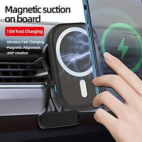 k17 15w car wireless charger phone car holder charger magnetic wireless charger car mount for iphone 12 pro max mini mag safe car vent mount magnetic wireless