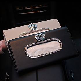 Crown Fashion Crown Crystal Car Tissue Box Sun Visor Leather Auto Tissue Bag Sunvisor Hanging Holder Case Napkin For Car Accessories