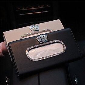 Crown Fashion Crown Crystal Car Tissue Box Sun Visor Leather Auto Tissue Bag Sunvisor Hanging Holder Case Napkin For Car Accessories