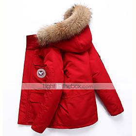 Women's outdoor ski thick down jacket, waterproof zipper closure, fur trim decorated hooded parka, Relaxed Fit coat