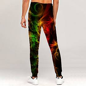 Men's Novelty Casual / Sporty Outdoor Sports Casual Daily Sweatpants Trousers Pants Graphic 3D Full Length Print Green