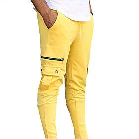 Men's Sports  Outdoors Sporty Breathable Cycling Quick Dry Sports Fitness Gym Jogger Pants Pants Solid Color Full Length Sporty Drawstring Patchwork White Blac