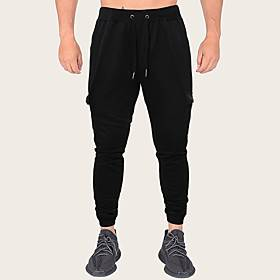 Men's Sporty Casual / Sporty Outdoor Sports Casual Daily Jogger Sweatpants Pants Solid Colored Letter Full Length Sporty Black Dark Gray