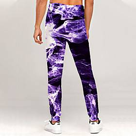 Men's Novelty Casual / Sporty Outdoor Sports Casual Daily Sweatpants Trousers Pants Graphic 3D Full Length Print Purple