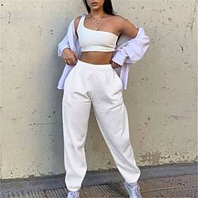 Women's Sporty Breathable Outdoor Sports Casual Daily Chinos Sweatpants Pants Solid Colored Full Length White Black Blushing Pink Army Green Camel