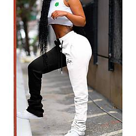 Women's Sporty Outdoor Sports Casual Daily Pants Sweatpants Pants Multi Color Full Length Drawstring Patchwork White Yellow Blushing Pink Gray