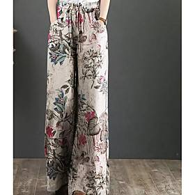 Women's Basic Breathable Outdoor Casual Work Wide Leg Pants Pants Flower / Floral Full Length Drawstring Patchwork Print Red Yellow Dusty Blue