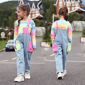 Kids Girls' Active Streetwear Color Block Long Sleeve Clothing Set Rainbow